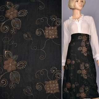 Ткань костюмная черная с бежевой вышивкой и замшевыми аппликациями, ш.150