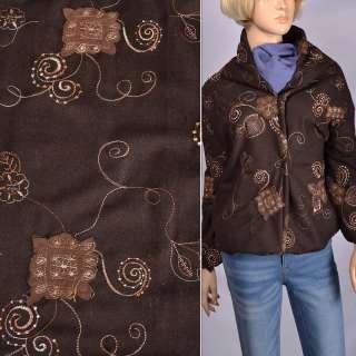Ткань костюмная коричневая с бежевой вышивкой и замшевыми аппликациями, ш150