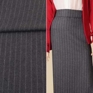Ткань костюмная с шерстью серая в двойную белую полоску ш.151