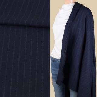 Ткань костюмная с шерстью синяя темная в двойную зеленую полоску ш.150