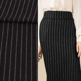 Ткань костюмная с шерстью черная в двойную белую полоску ш.153