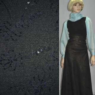 Ткань костюмная черная с золотым напылением, черной вышивкой и пайетками, ш.150