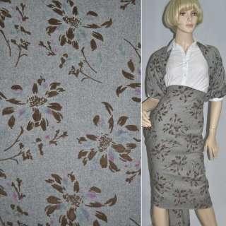 Тканина костюмна сіра світла з коричневими квітами з флока ш.150