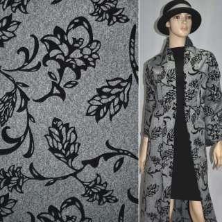 Тканина костюмна сіра з чорним малюнком з флока, ш.150