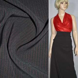 Ткань костюмная черная в красную полоску