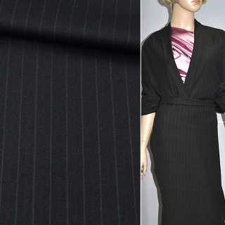 Ткань костюмная черная в полоску, ш.150
