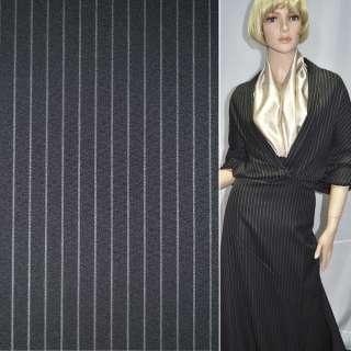 Тканина костюмна чорна в широку білу смугу