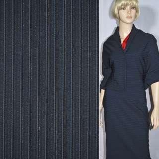 Тканина костюмна темно-синя в смужку з люрексом