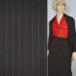 Тканина костюмна темно-бордова з темно-бордовими смугами і люрексом