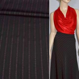 Тканина костюмна бордова темна в широку смужку з люрексом