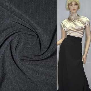 Ткань костюмная черная в узкую полоску стрейч ш.150