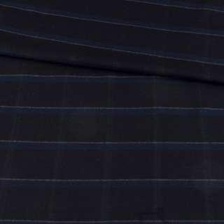 Шерсть стрейч чорна в синю клітку, ш.148