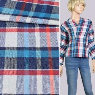 Шотландка біло-червоно-бірюзово-синя, ш.150