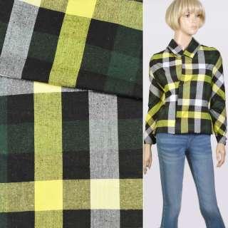 Шотландка желто-бело-зелено-черная, ш.145