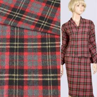 Шотландка костюмная серо-красно-черная, ш.150