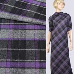 Шотландка костюмная серо-черно-фиолетовая, ш.145