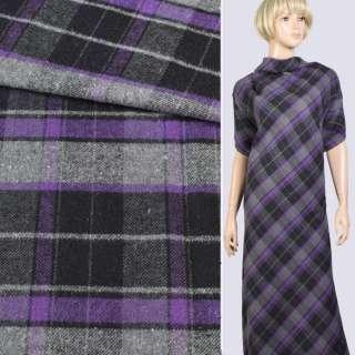 Шотландка костюмна сіро-чорний-фіолетова, ш.145