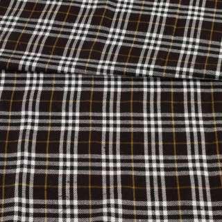 Шотландка коричневая темная в бело-бежевую клетку, ш.150