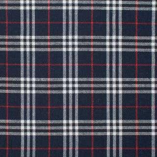 Шотландка синяя темная в бело-красную клетку ш.145