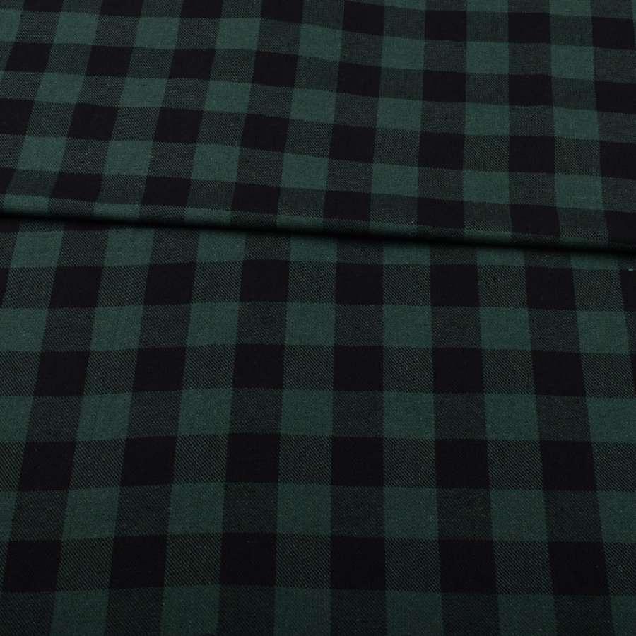 Шотландка зеленая темная в черную клетку ш.145