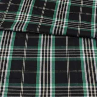 Шотландка черная в зелено-белую клетку ш.146