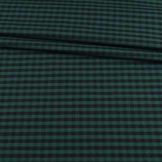 Шотландка костюмная хлопковая в клетку зеленую, черную, ш.150