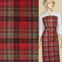 Шотландка красная в черно-зеленую клетку ш.150