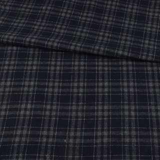 Шотландка синяя темная в серую клетку ш.150