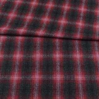 Шотландка серая темная в бордово-розовую клетку ш.148