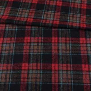 Шотландка черная в красно-бежевую, голубую клетку ш.150