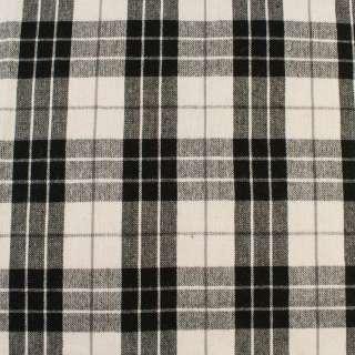 Шотландка белая в черно-серую клетку, ш.150