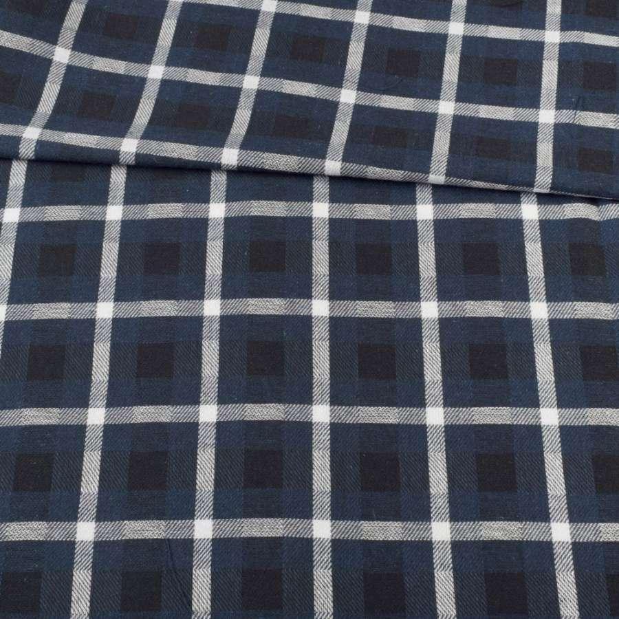 Шотландка черно-синяя в белую клетку, ш.145