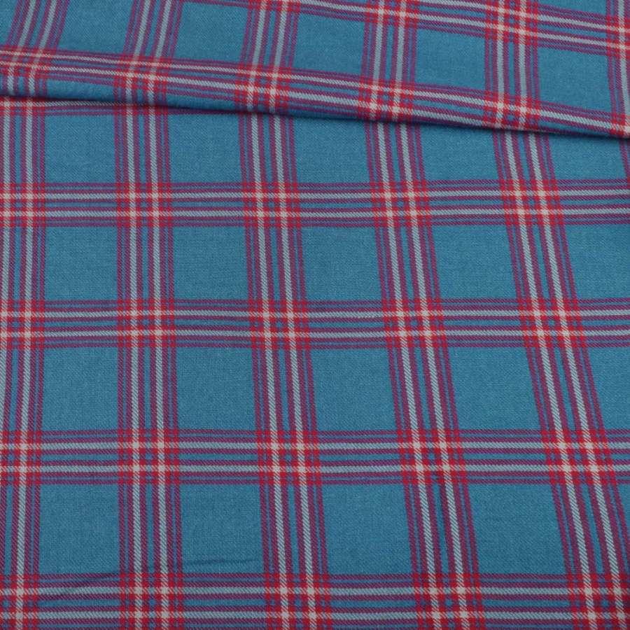 Шотландка синяя в красную клетку, ш.143