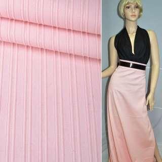 Котон стрейч рожевий блідий в смужку