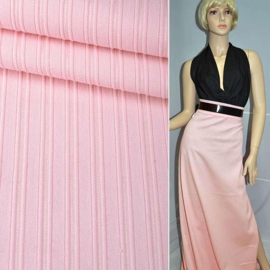 Коттон стрейч розовый бледный в полоску