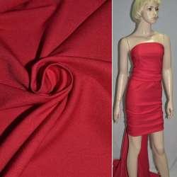 Коттон стрейч костюмный красный-алый ш.150