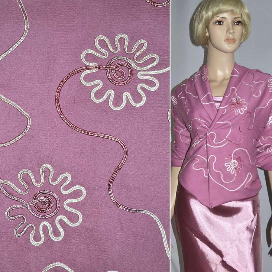 Коттон стрейч розовый, вышитый сутажем