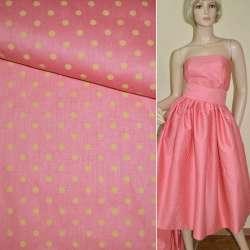 Коттон розовый в светло-желтый горох ш.160