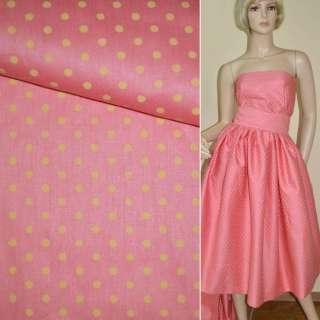 Коттон розовый в светло желтый горох ш.160