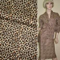 Коттон бежево-коричневый принт леопард ш.160