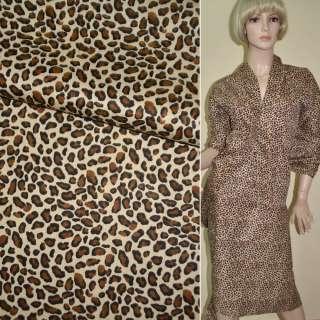 Коттон бежево коричневый принт леопард ш.160