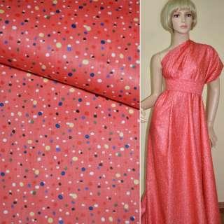 Коттон ярко розовый в разноцветные горошки ш.160