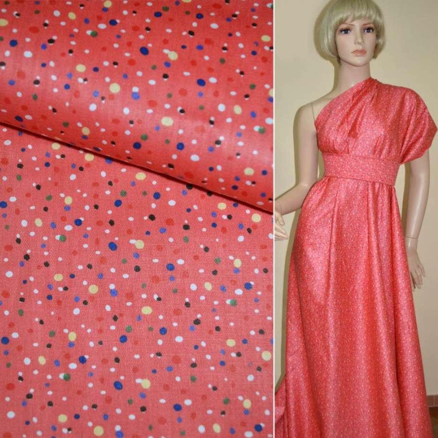 Коттон ярко-розовый в разноцветные горошки ш.160