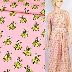 Коттон розовый веселые бананы, ш.145