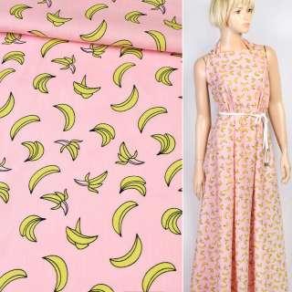 Коттон розовый в бананы, ш.150