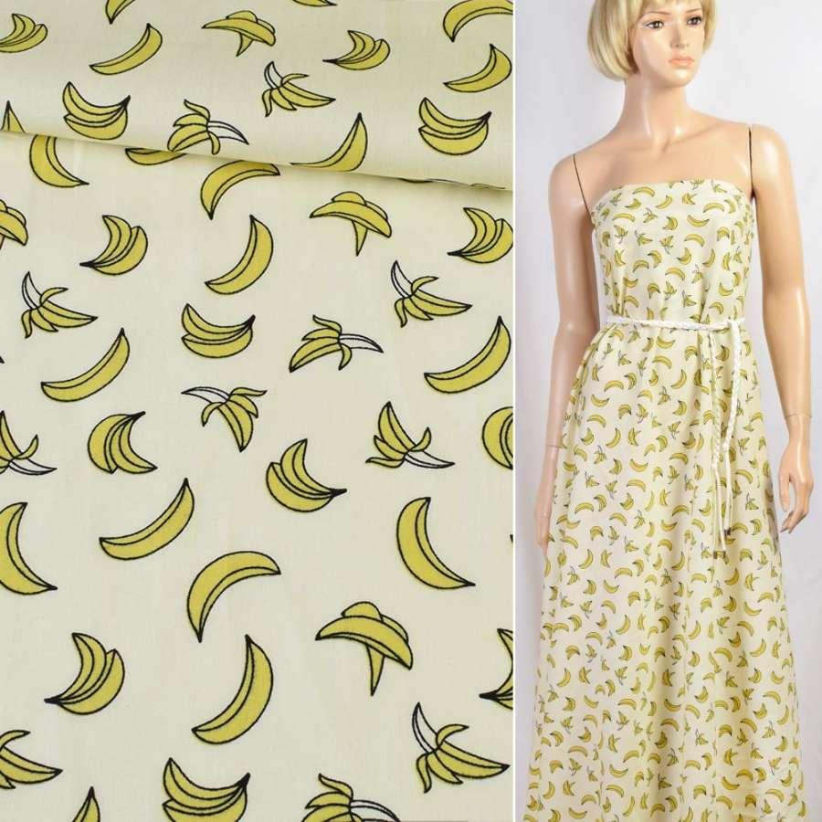 Коттон кремовый в бананы, ш.150