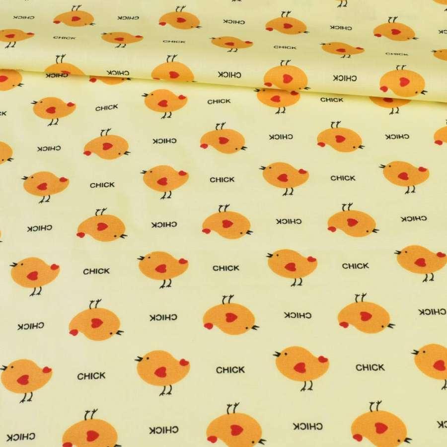 Коттон желтый в курочки, ш.150