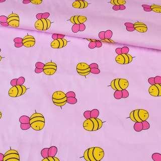 Коттон розовый в желтые пчелки, ш.147
