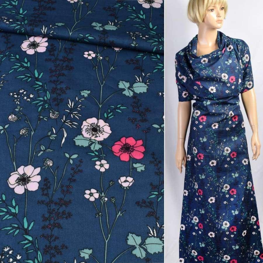Коттон синий в розовые цветы, зеленые листья, ш.140