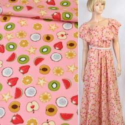 Коттон розовый в разноцветные киви, яблоко, клубнику, ш.147